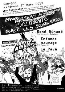 Vendredi 29 mars: Concert de soutien aux squats en Grèce