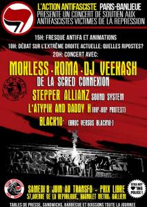 Samedi 8 juin: Concert de soutien aux antifascistes victimes de la répression d'État