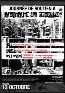 """Samedi 12 octobre: Journée de soutien à l'Atelier """"bricolage"""" du Transfo"""