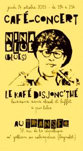 Jeudi 24 octobre: Café-concert Disjonc'thé avec Nina Blue
