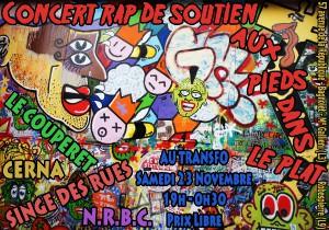 Samedi 23 novembre: Concert de rap en soutien aux Pieds dans le Plat