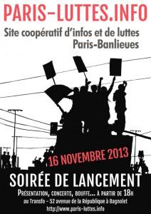 Samedi 16 novembre: Soirée de lancement de paris-luttes.info