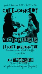 Jeudi 5 décembre: Kafé Disjonc'thé avec concert des Violoneuses