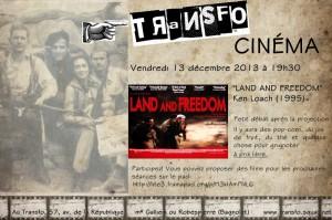 """Vendredi 13 décembre: Projection de """"Land and Freedom"""" + discussion"""