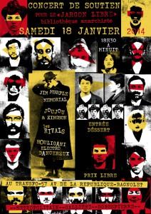 """Samedi 18 janvier 2014: Concert de soutien à la bibliothèque anarchiste le """"Jargon Libre"""""""