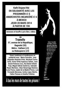Jeudi 20 mars 2014: Kafé Disjonc'thé en solidarité avec les prisonnier-e-s anarchistes incarcéré-e-s à Mexico
