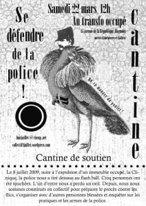 Samedi 22 mars 2014: Cantine contre la police