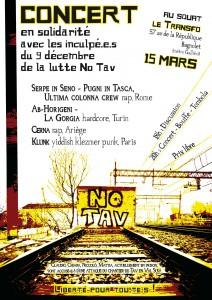 Samedi 15 mars 2014: Concert en solidarité avec les inculpé.e.s du 9 décembre de la lutte No TAV