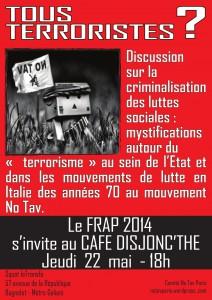 """Jeudi 22 mai 2014: K-fé Disjonc'thé """"No TAV"""" (dans le cadre du FRAP)"""
