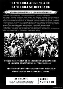 Jeudi 5 juin 2014 : Soirée d'information et de soutien aux prisonniers de la grève amazonienne de 2009 (Pérou)