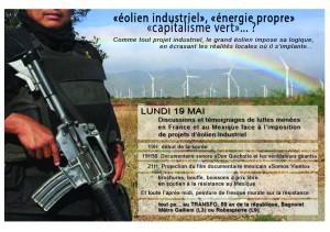 Lundi 19 mai 2014: Discussion «éolien industriel», «énergie propre» «capitalisme vert»… ?