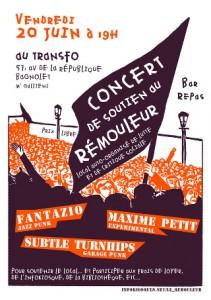 Vendredi 20 juin 2014: Concert de soutien au Rémouleur
