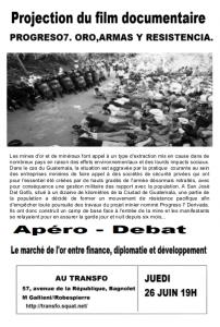 """Jeudi 26 juin 2014: Projection-Apéro-Débat """"Oro, armas y resistencia"""""""